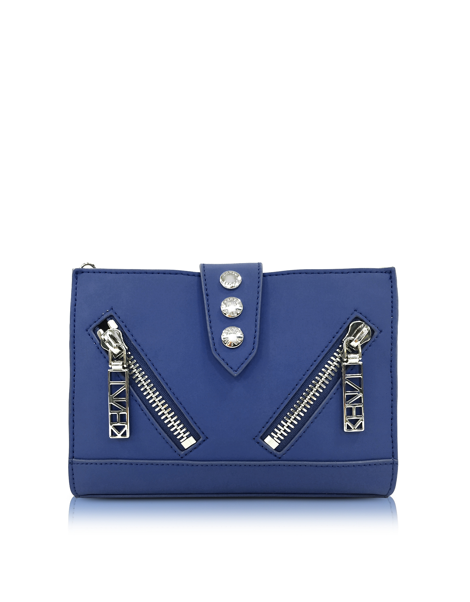 Kenzo Handbags, Dark Blue Gommato Leather Kalifornia Wallet on Chain
