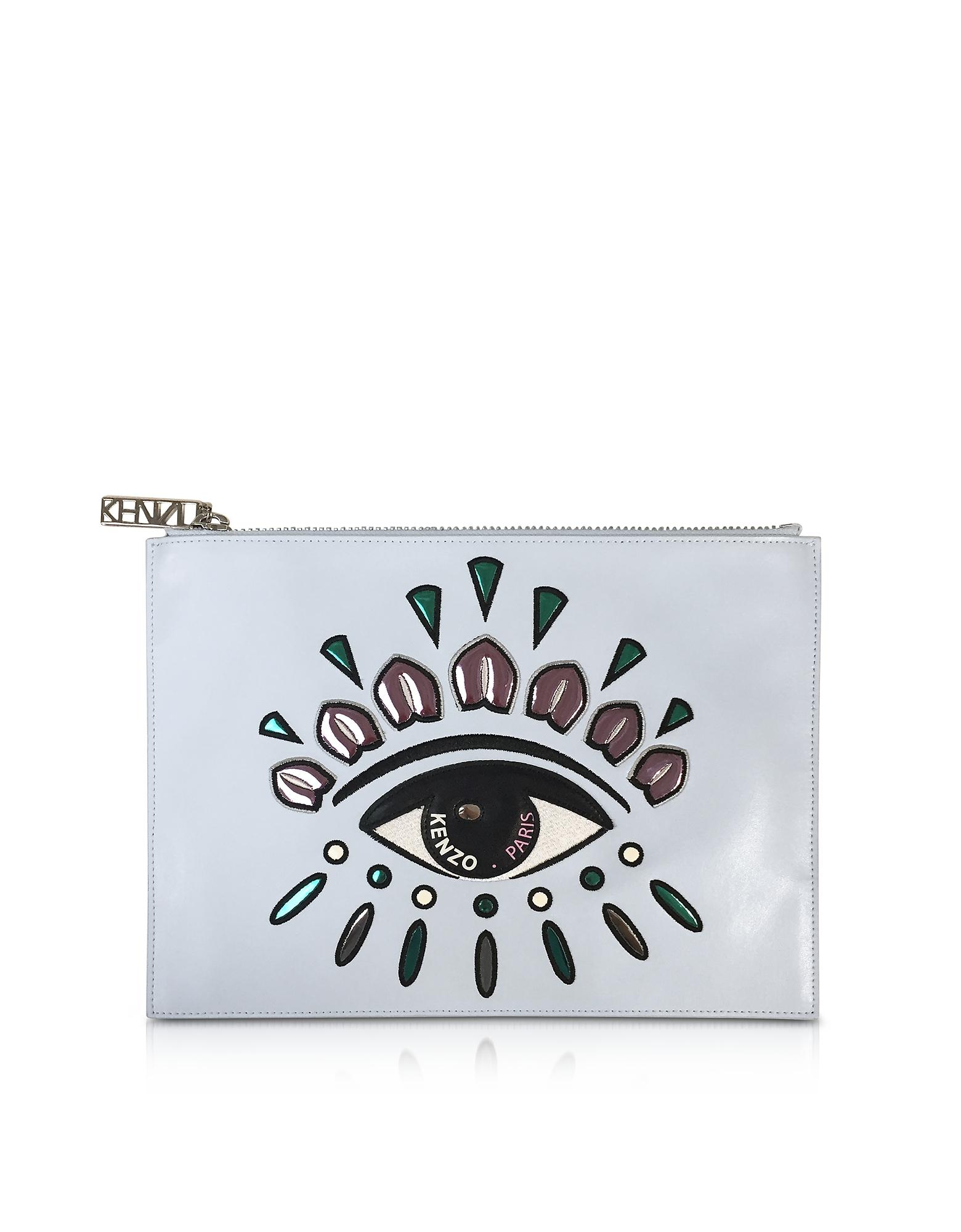Kenzo Handbags, A5 Sky Blue Leather Eye Pochette