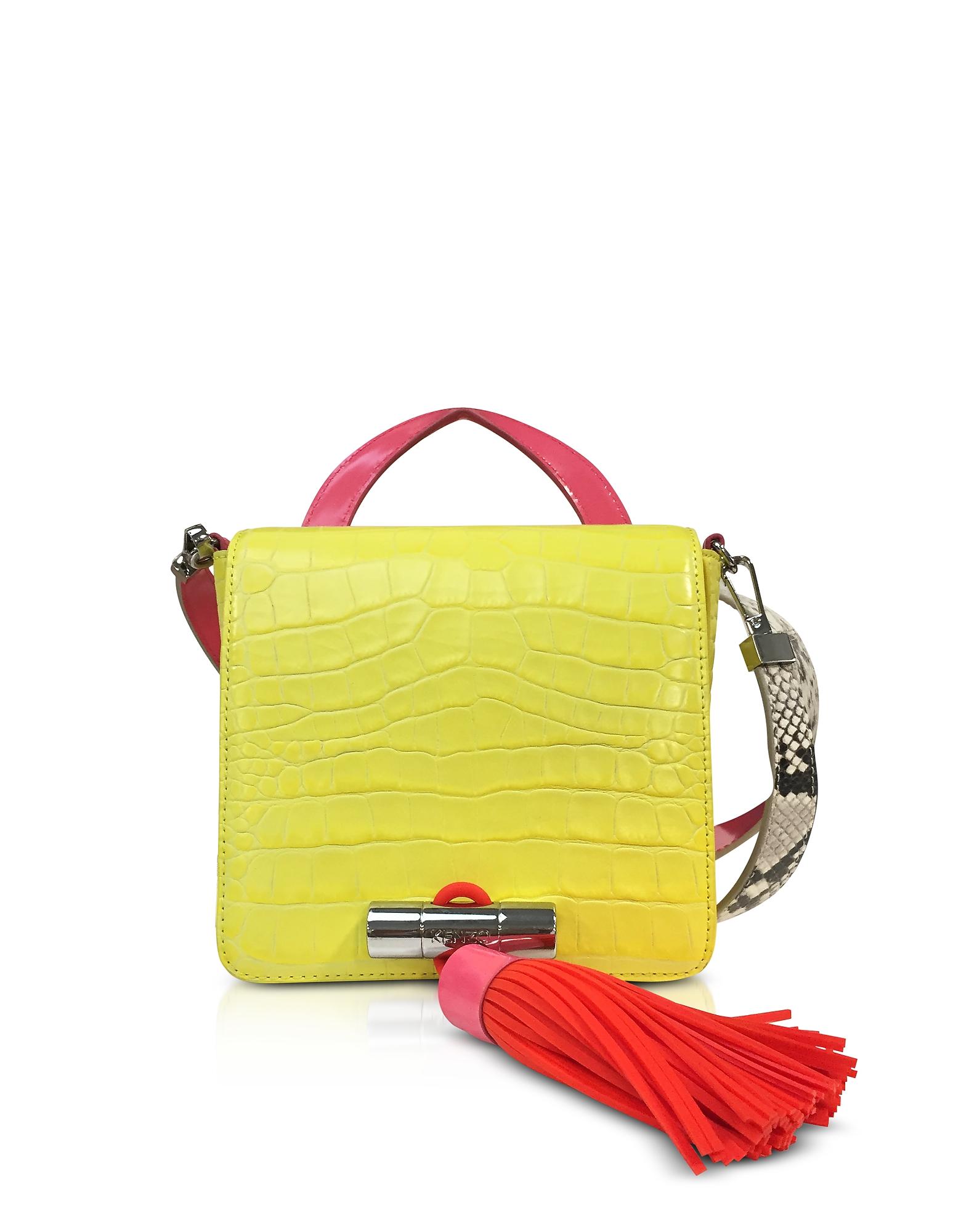 Kenzo Handbags, Lemon Croco Embossed Leather Mini Sailor Bag w/Fuchsia Oversized Tassel