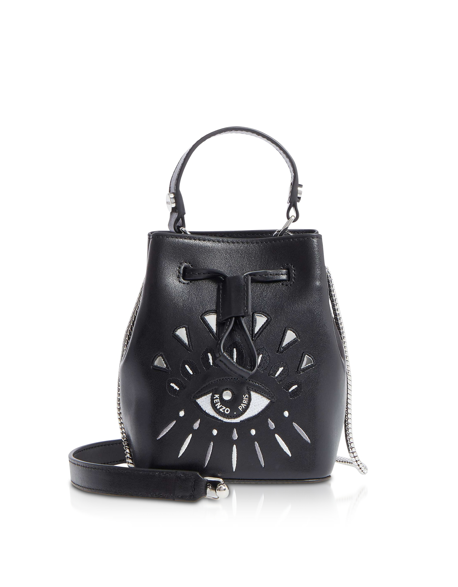 Kenzo Handbags, Eye Black Leather Mini Bucket Bag