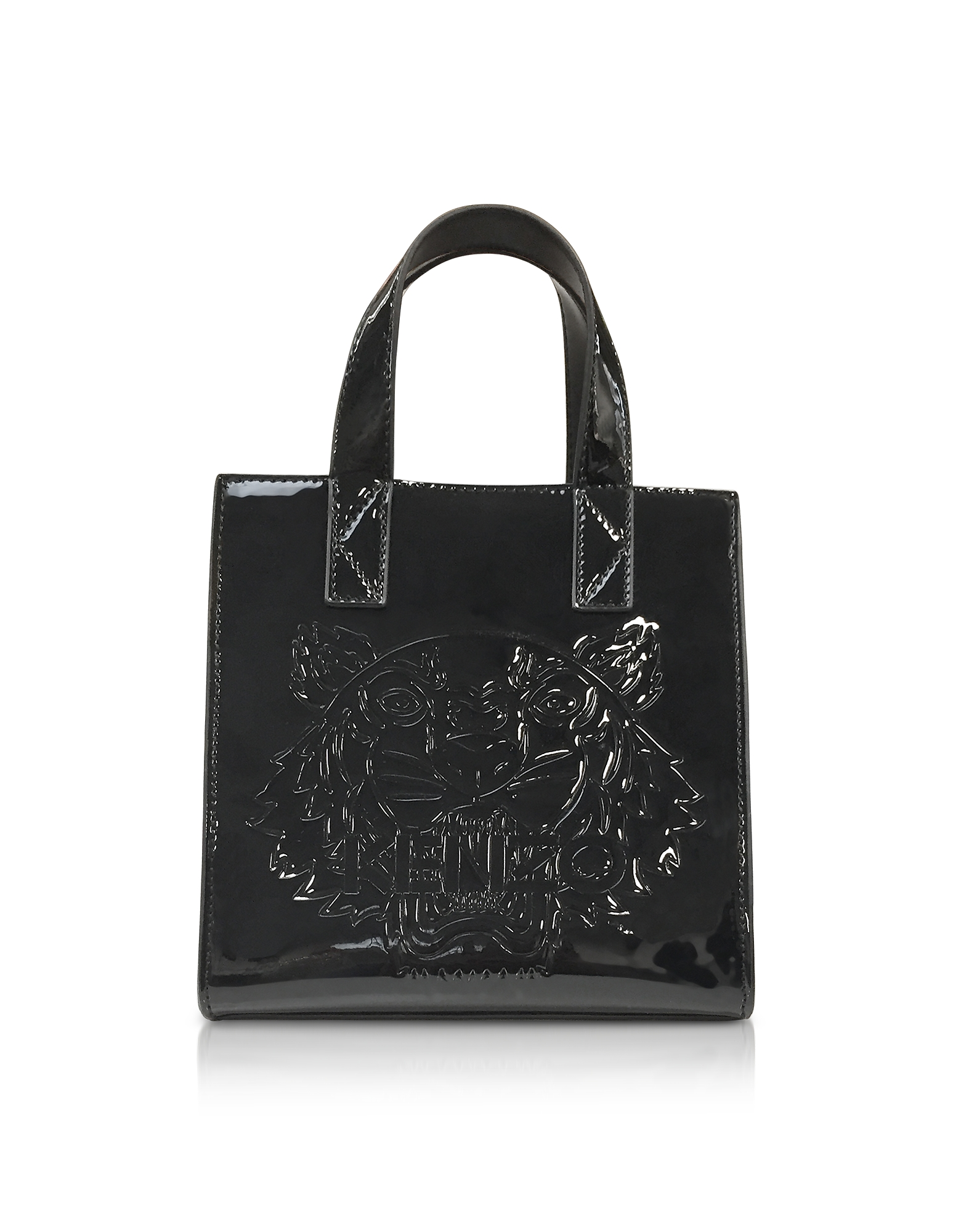 Kenzo Handbags, Black Patent Mini Tiger Tote Bag