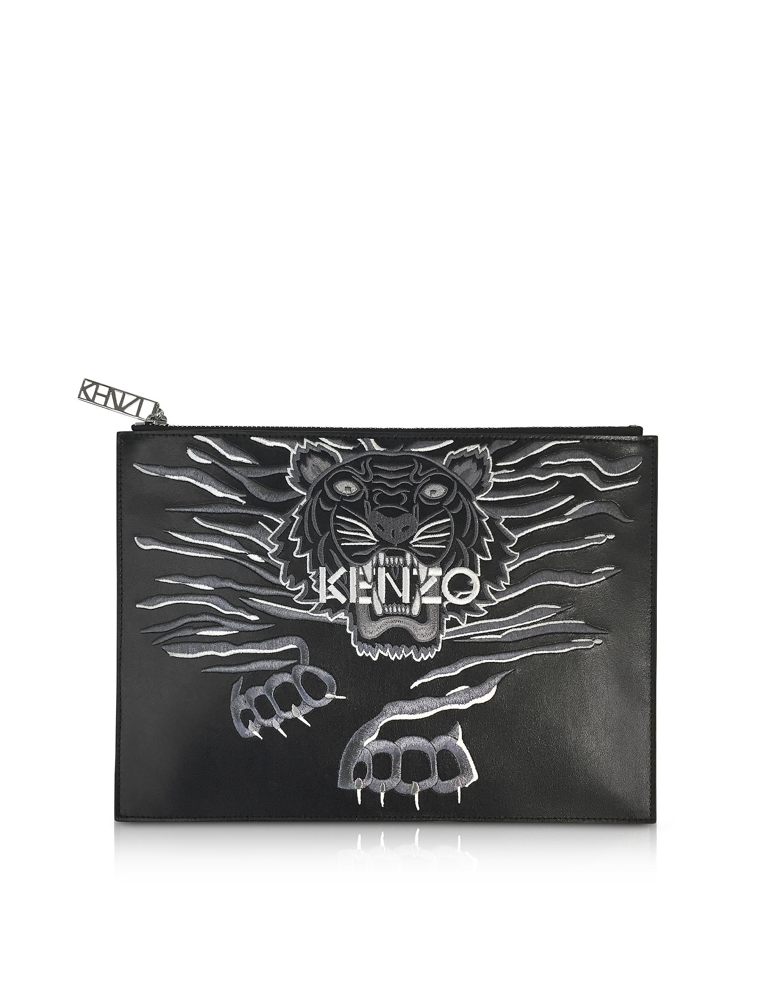 Kenzo Handbags, Black Leather A4 Geo Tiger Clutch