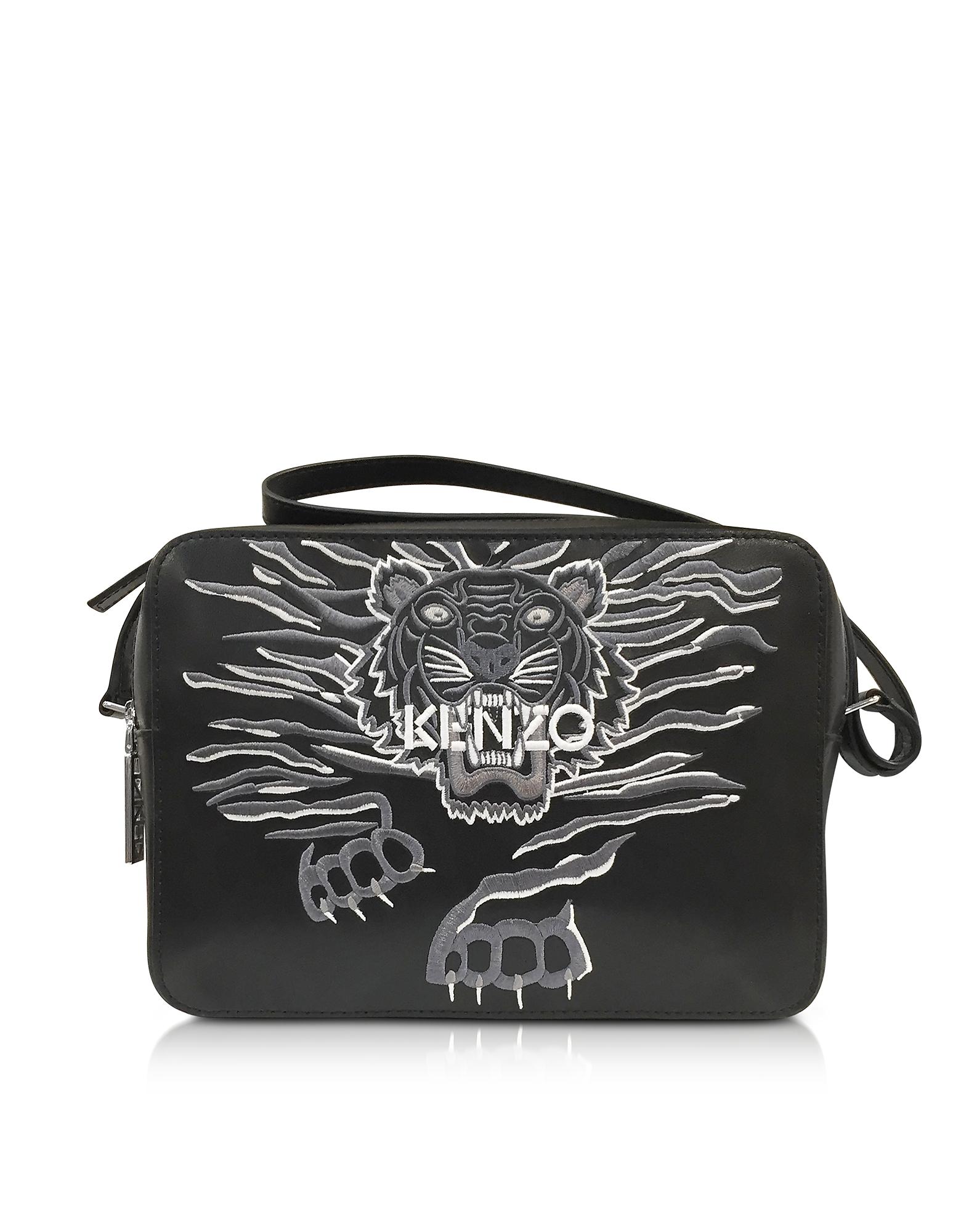 Kenzo Handbags, Black Leather Large Geo Tiger Crossbody Bag