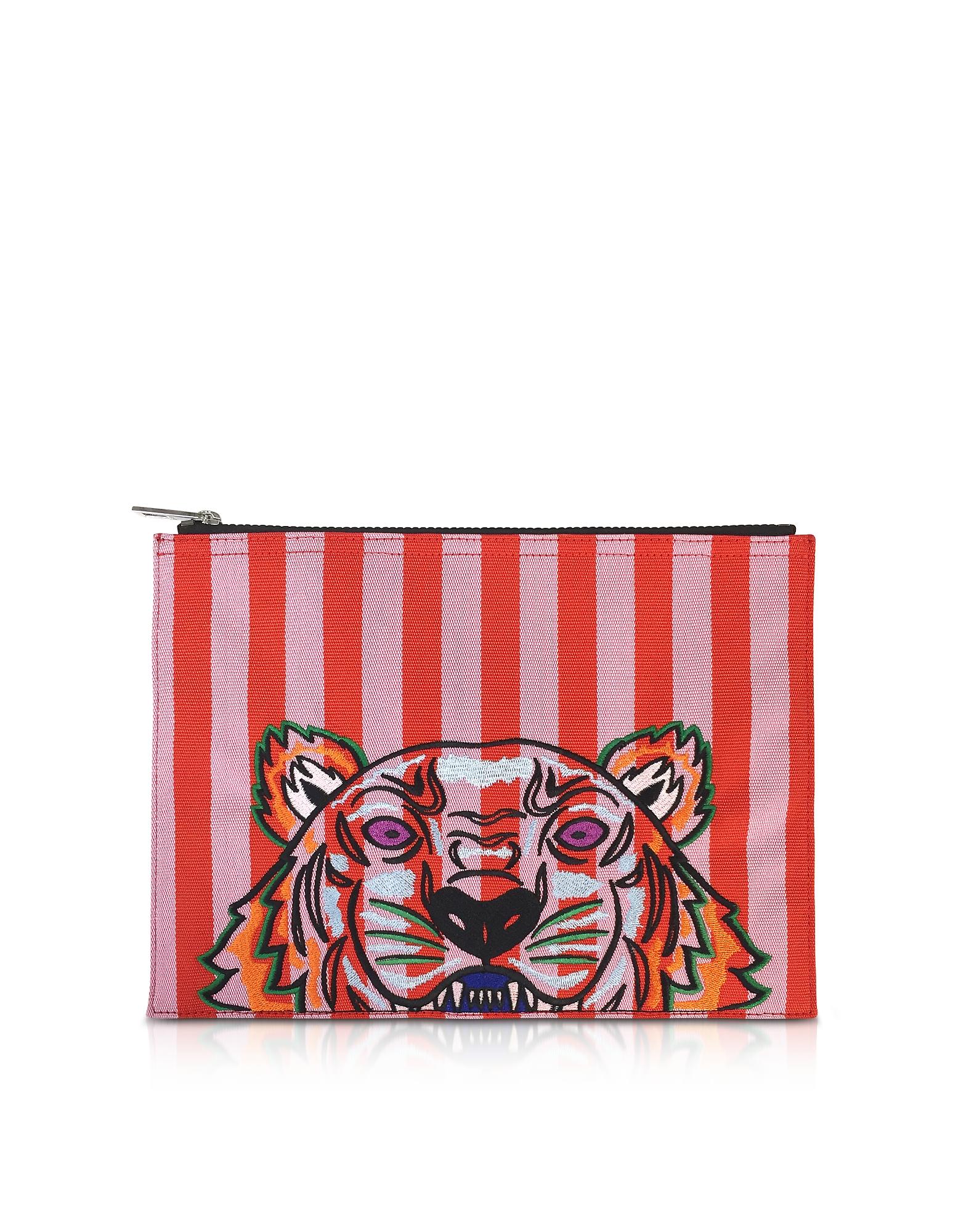 A4 Tiger Clutch in Canvas a Righe Ricamato