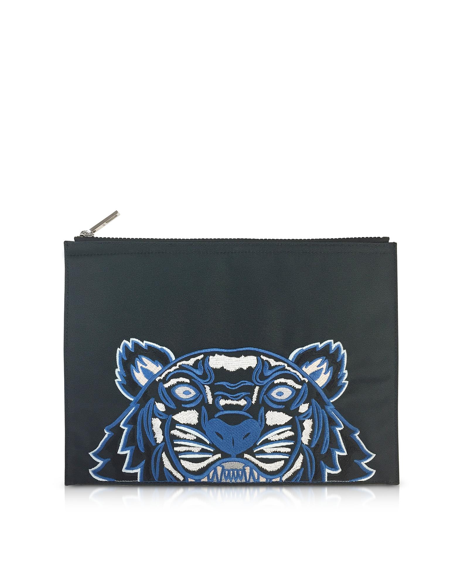 Темно-Серый Клатч А 4 из Ткани с Тигром