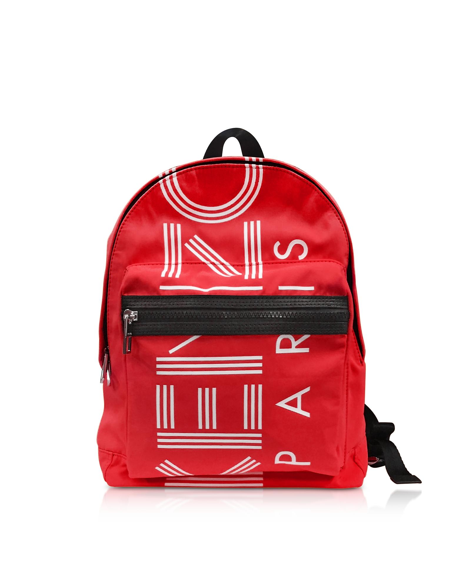 Kenzo Handbags, Red Nylon Medium Kenzo Sport Backpack