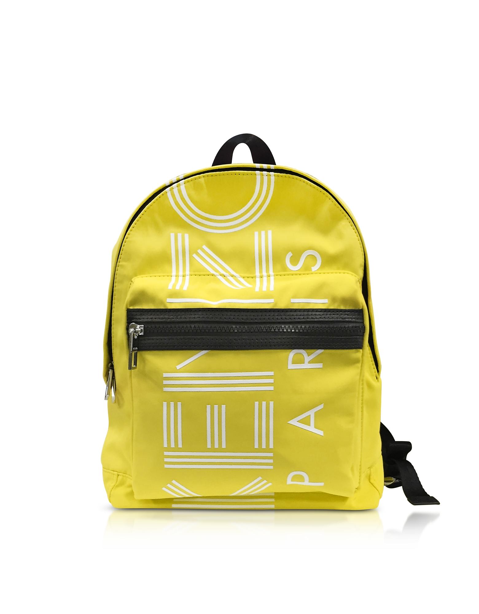 Kenzo Handbags, Lemon Nylon Medium Kenzo Sport Backpack