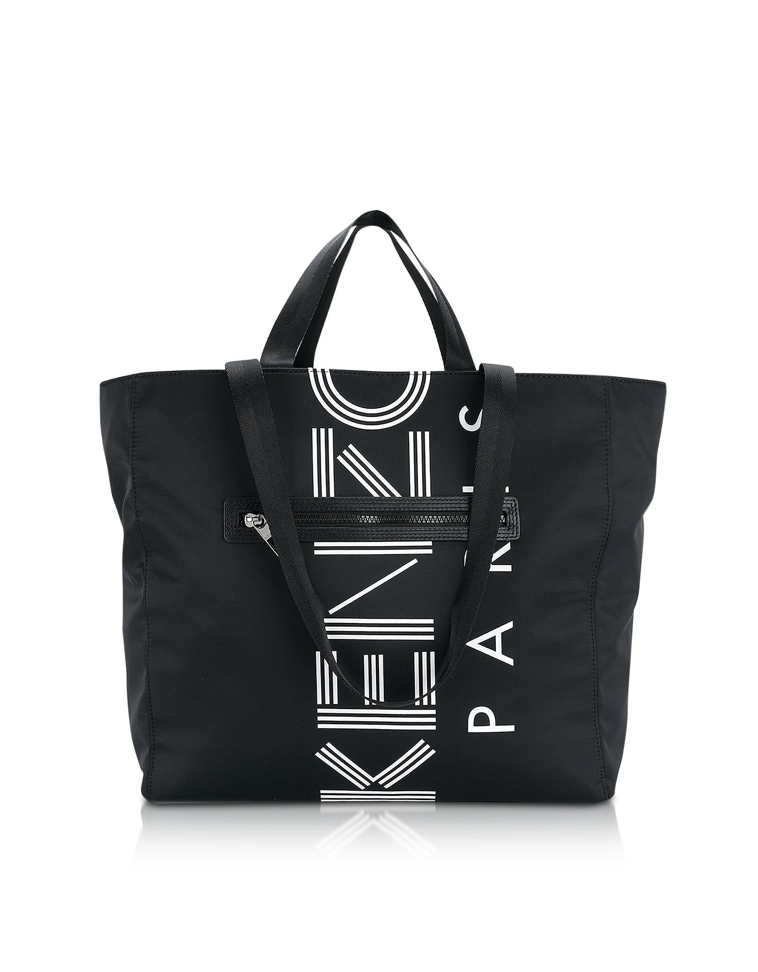 Kenzo Handbags, Black Nylon Kenzo Logo Tote Bag