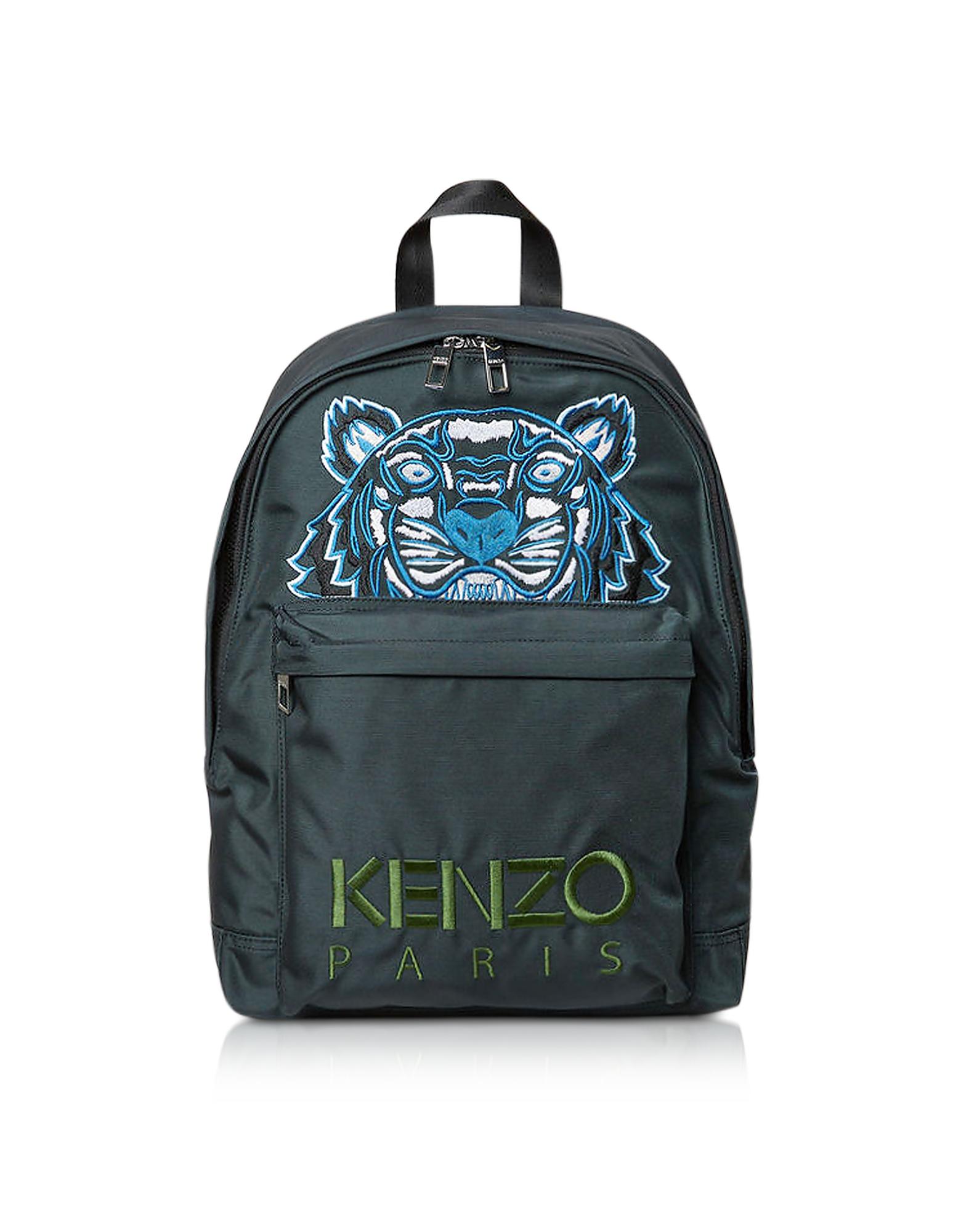 Kenzo Handbags, Dark Gray Canvas Large Tiger Backpack