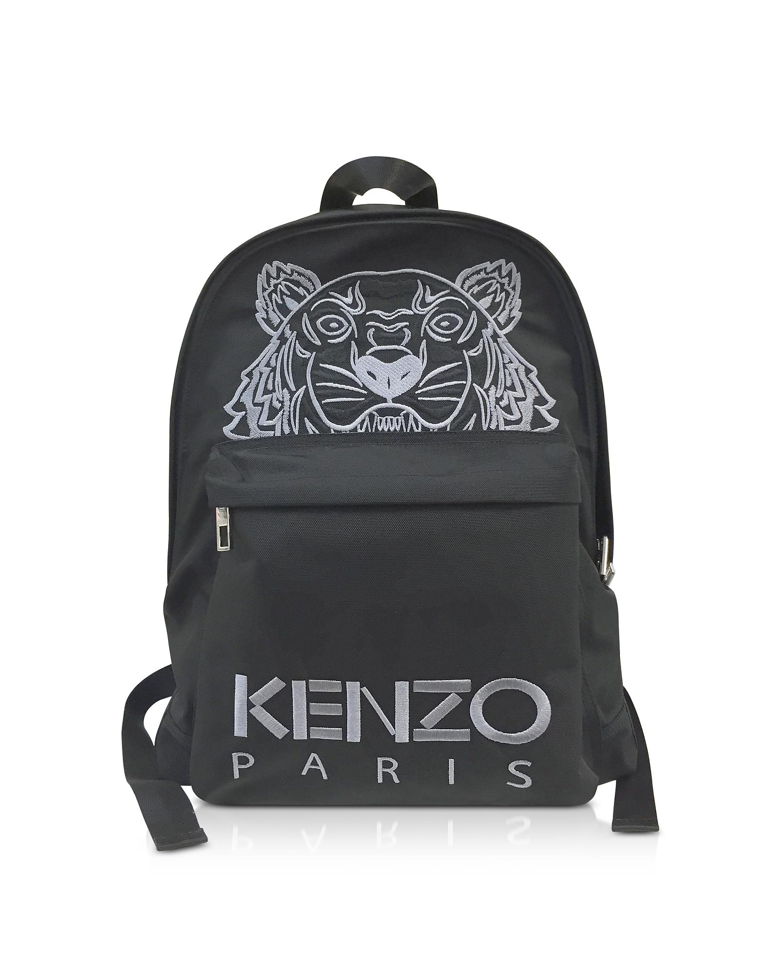 Kenzo Handbags, Black Canvas Large Tiger Backpack