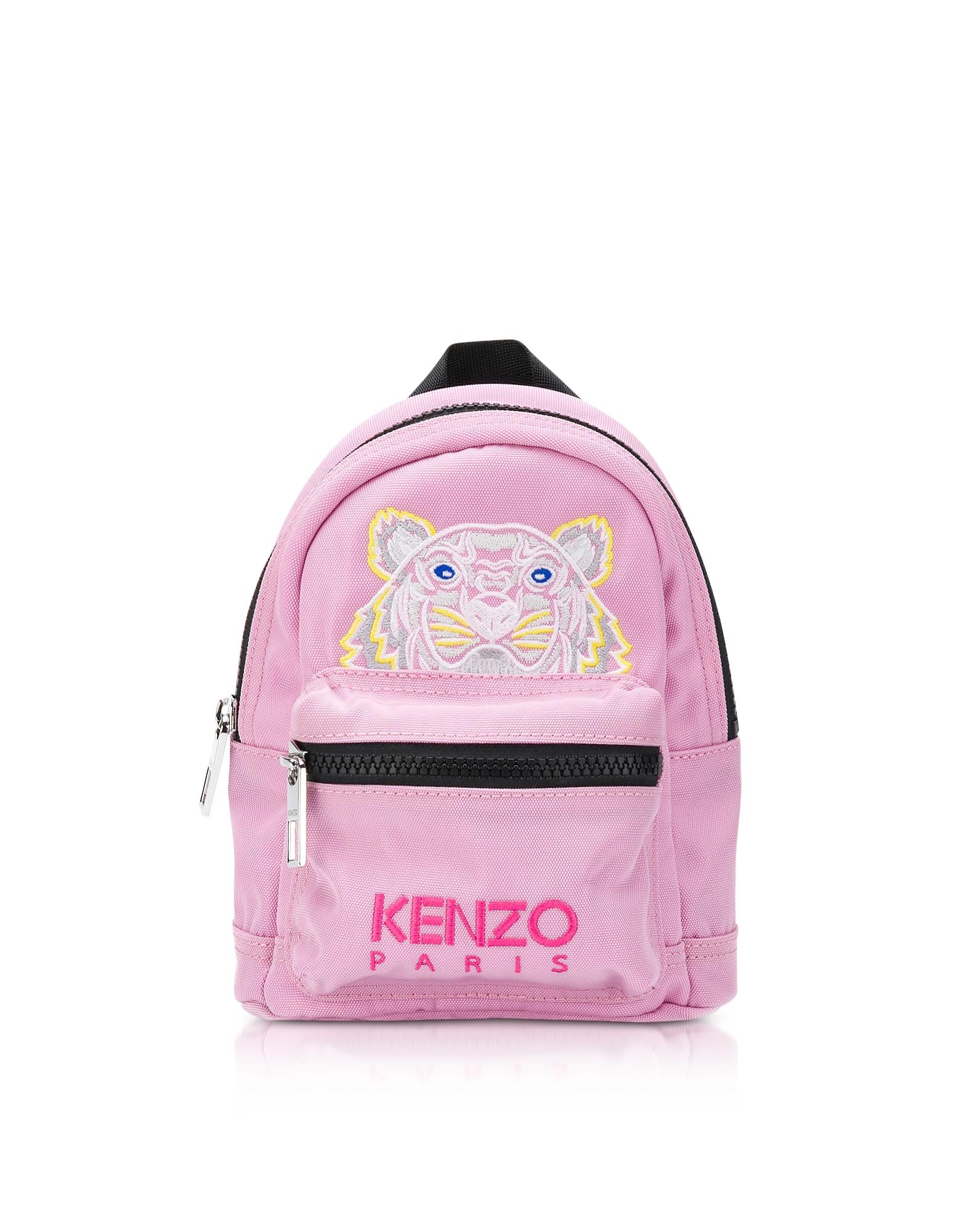 Kenzo Handbags, Flamingo Pink Canvas Mini Tiger Backpack