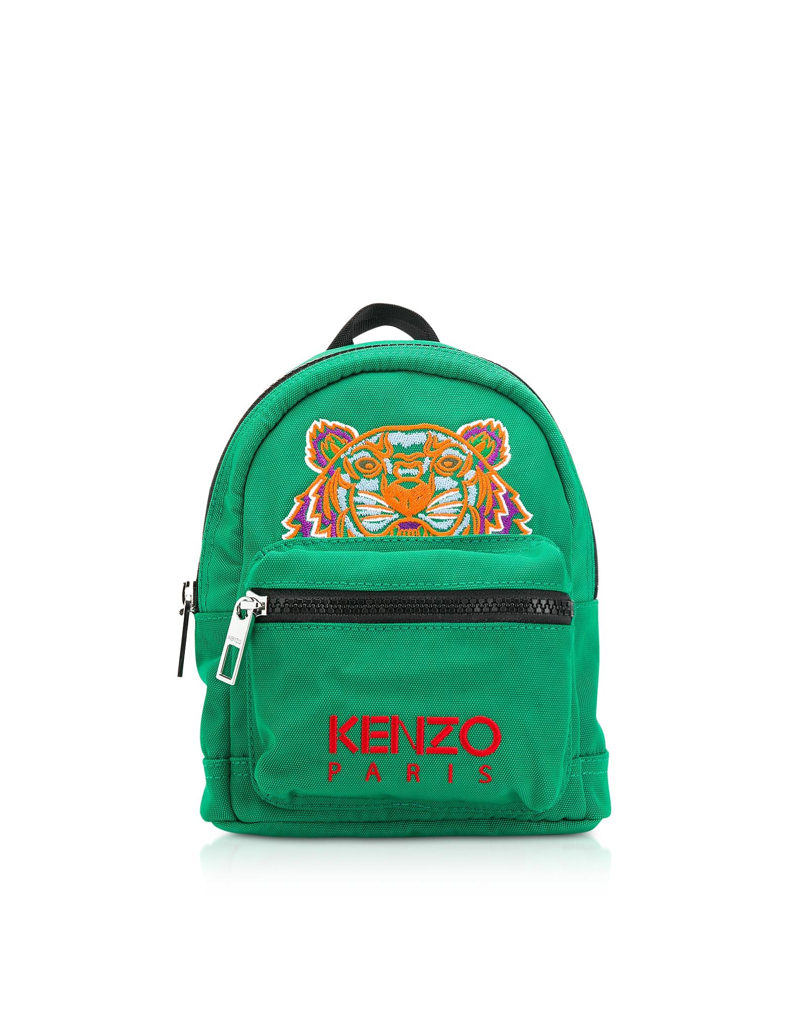 Kenzo Handbags, Grass Green Canvas Mini Tiger Backpack