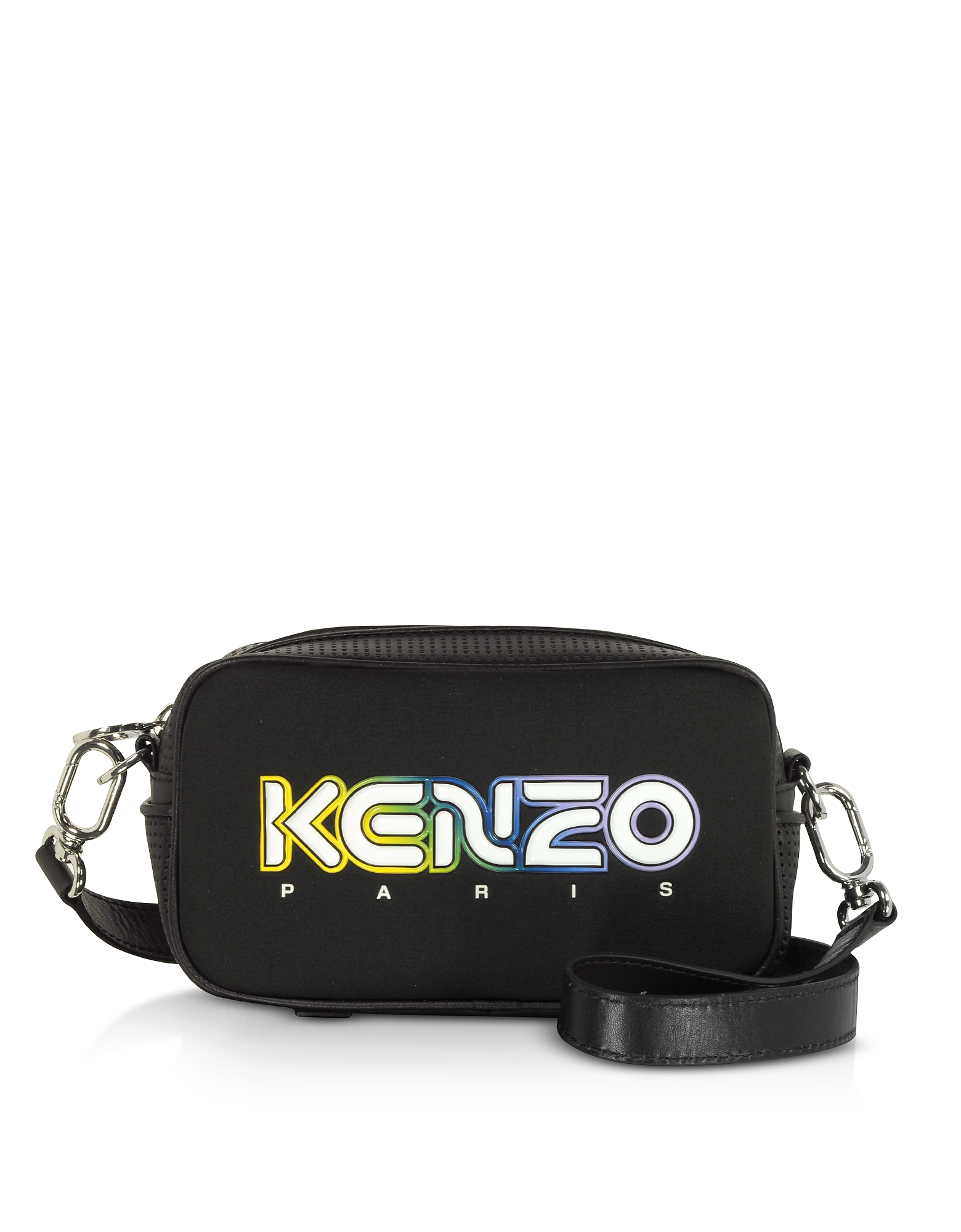 Kenzo Designer Handbags, Black Neoprene Kombo Crossbody Bag