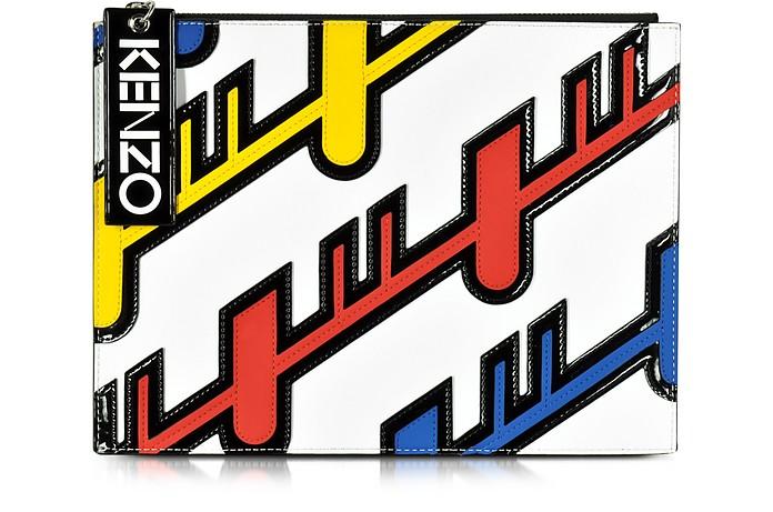 Multicolor Leather Diagonal Stripe Clutch - Kenzo
