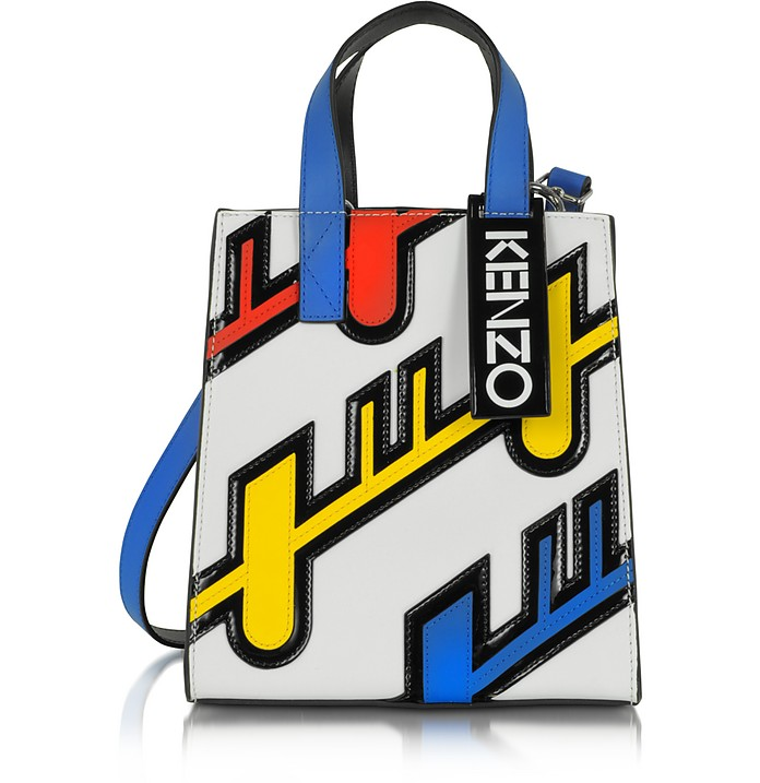 Multicolor Leather Diagonal Stripe Tote - Kenzo