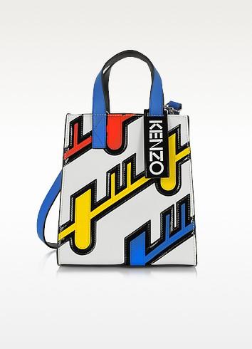 Multicolor Leather Diagonal Stripe Tote - Kenzo