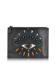 Black Leather A5 Eye Clutch - Kenzo