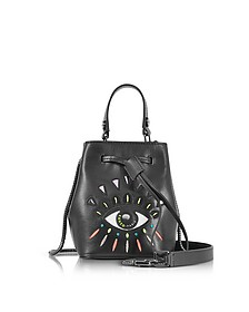 Black Leather Eye Mini bucket Bag - Kenzo