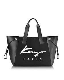 Kenzo Paris Signature Black Canvas and Perforated Eco Leather Large Tote Bag - Kenzo