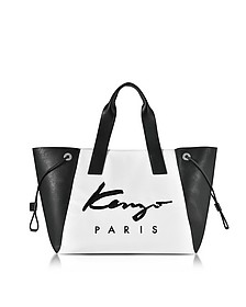 Kenzo Paris Signature White Canvas and Black Perforated Eco Leather Large Tote Bag - Kenzo