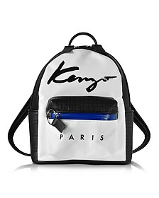 Kenzo Paris Signature White Canvas and Black Perforated Eco Leather Small Backpack - Kenzo