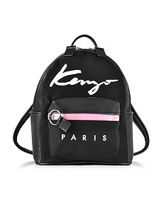 Kenzo Paris Signature Black Canvas and Perforated Eco Leather Small Backpack - Kenzo
