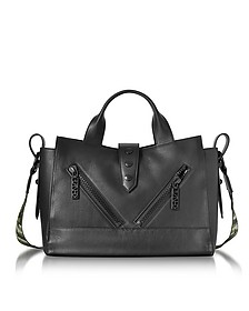 Kalifornia Black Leather Medium Tote Bag w/Signature Canvas Shoulder Strap - Kenzo