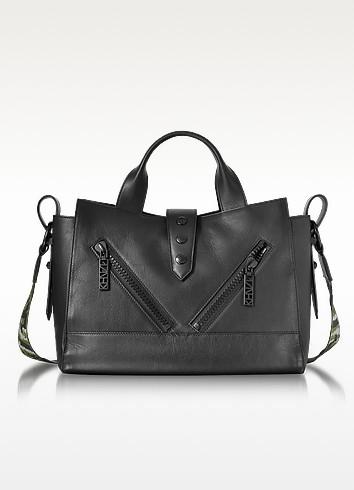 Kalifornia Black Leather Medium Tote Bag w/Signature Canvas Shoulder Strap - Kenzo