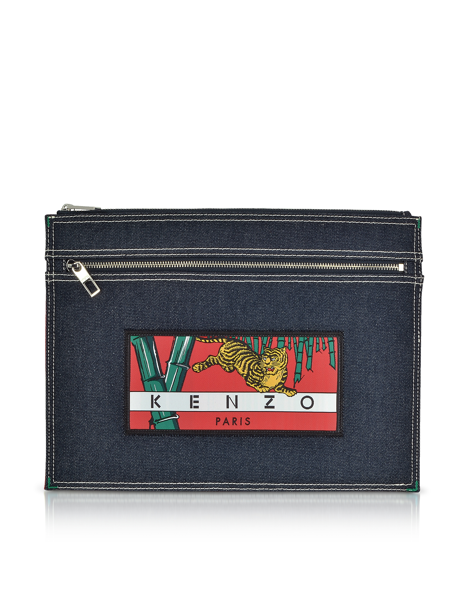 Denim Bamboo Tiger Clutch