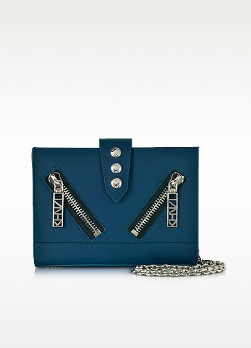 Petrol Gommato Leather Kalifornia Wallet w/Chain Strap - Kenzo