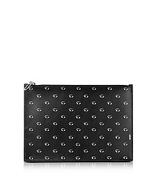 Black Leather Multi Eye Clutch - Kenzo