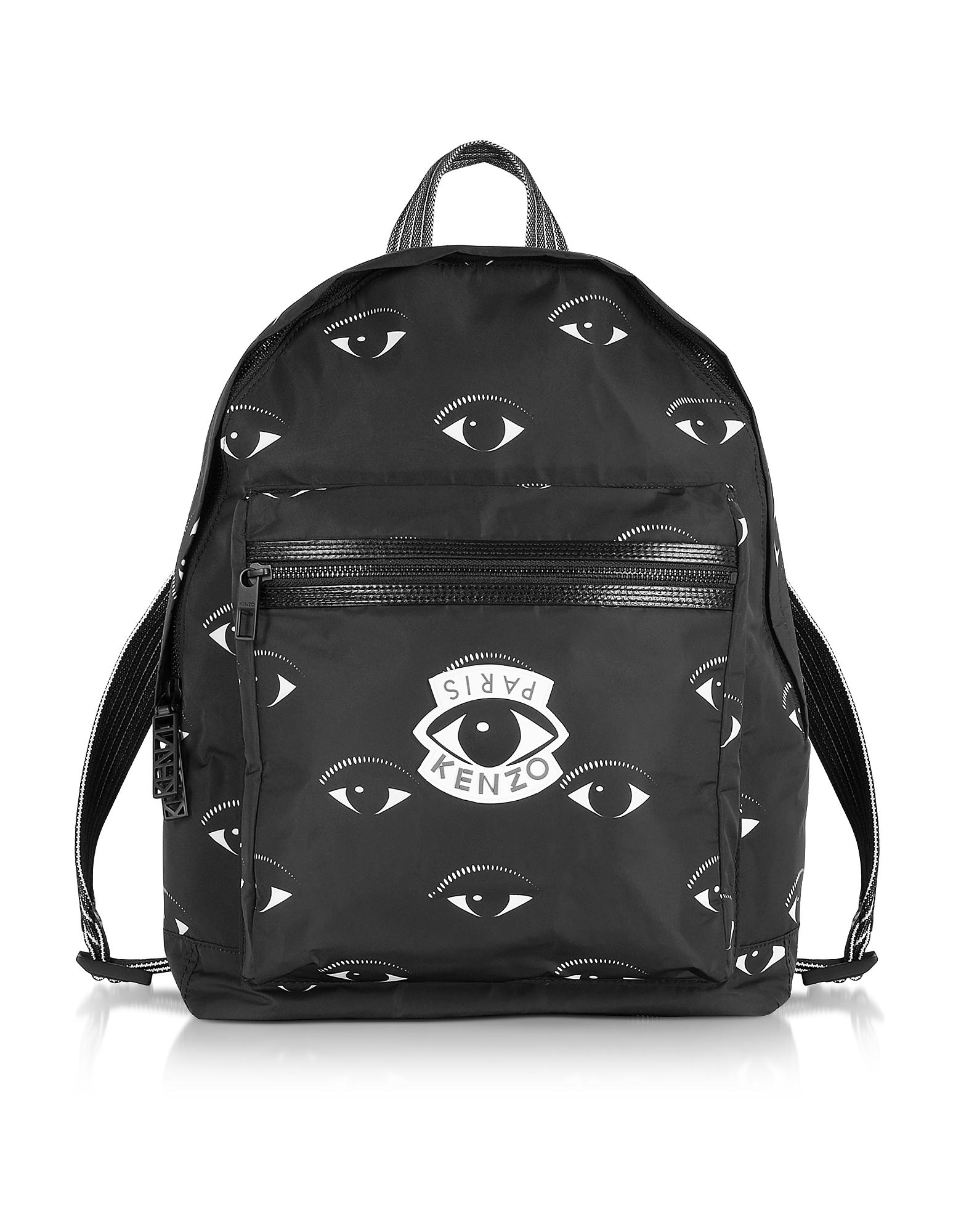 Kenzo Handbags, Black Fabric Multi Eye Backpack