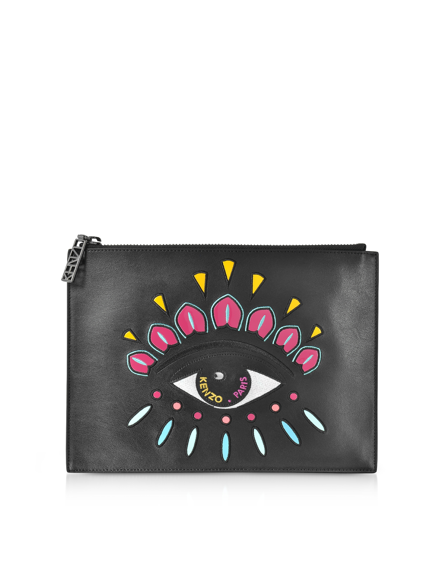 Kenzo Handbags, Black Leather A4 Eye Clutch