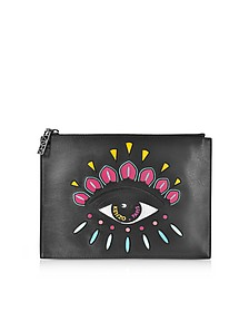 Black Leather A4 Eye Clutch  - Kenzo