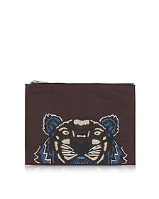 Burgundy Canvas Tiger Clutch - Kenzo