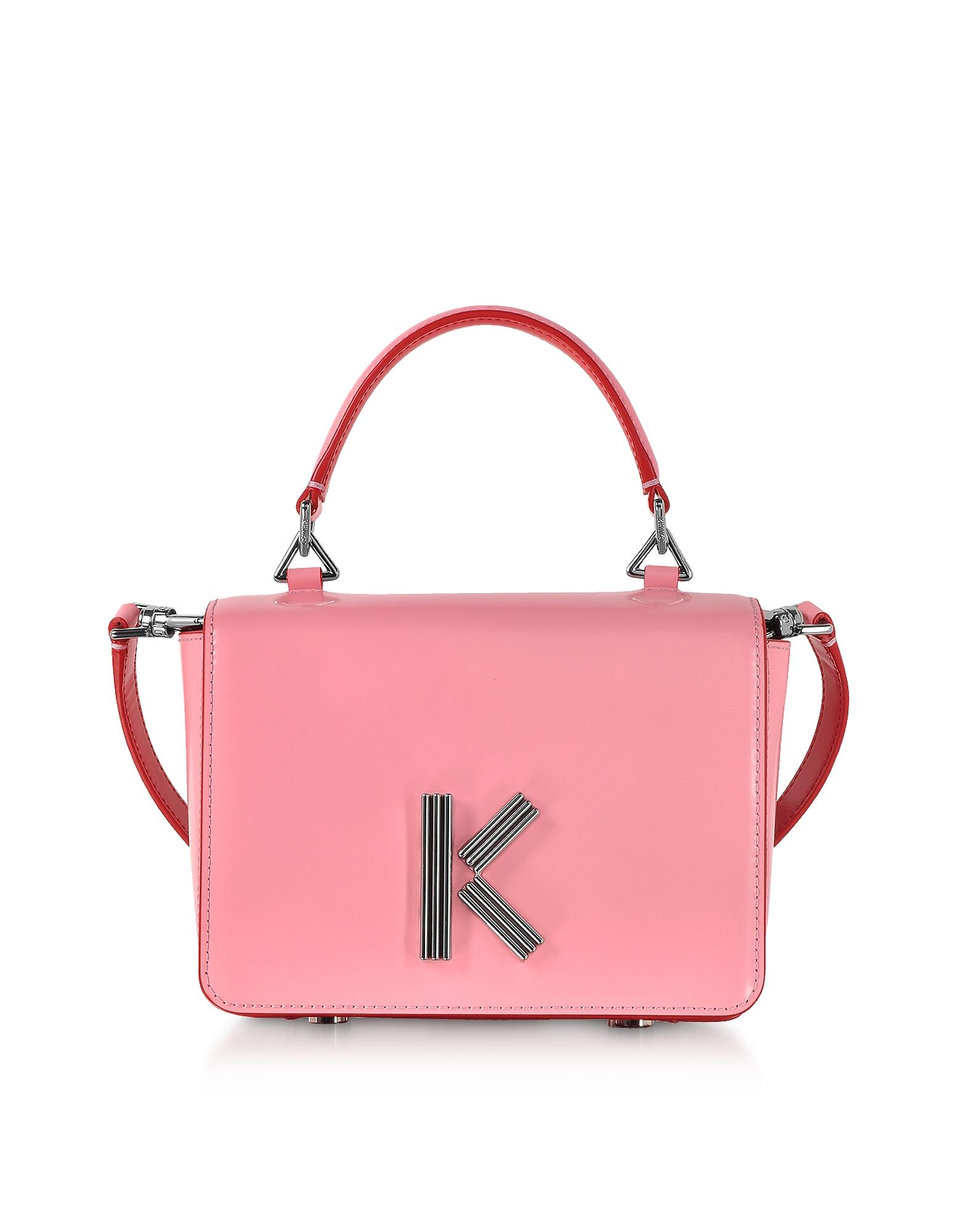 Kenzo  Handbags Medium Faded Pink Leather Crossbody K-Bag