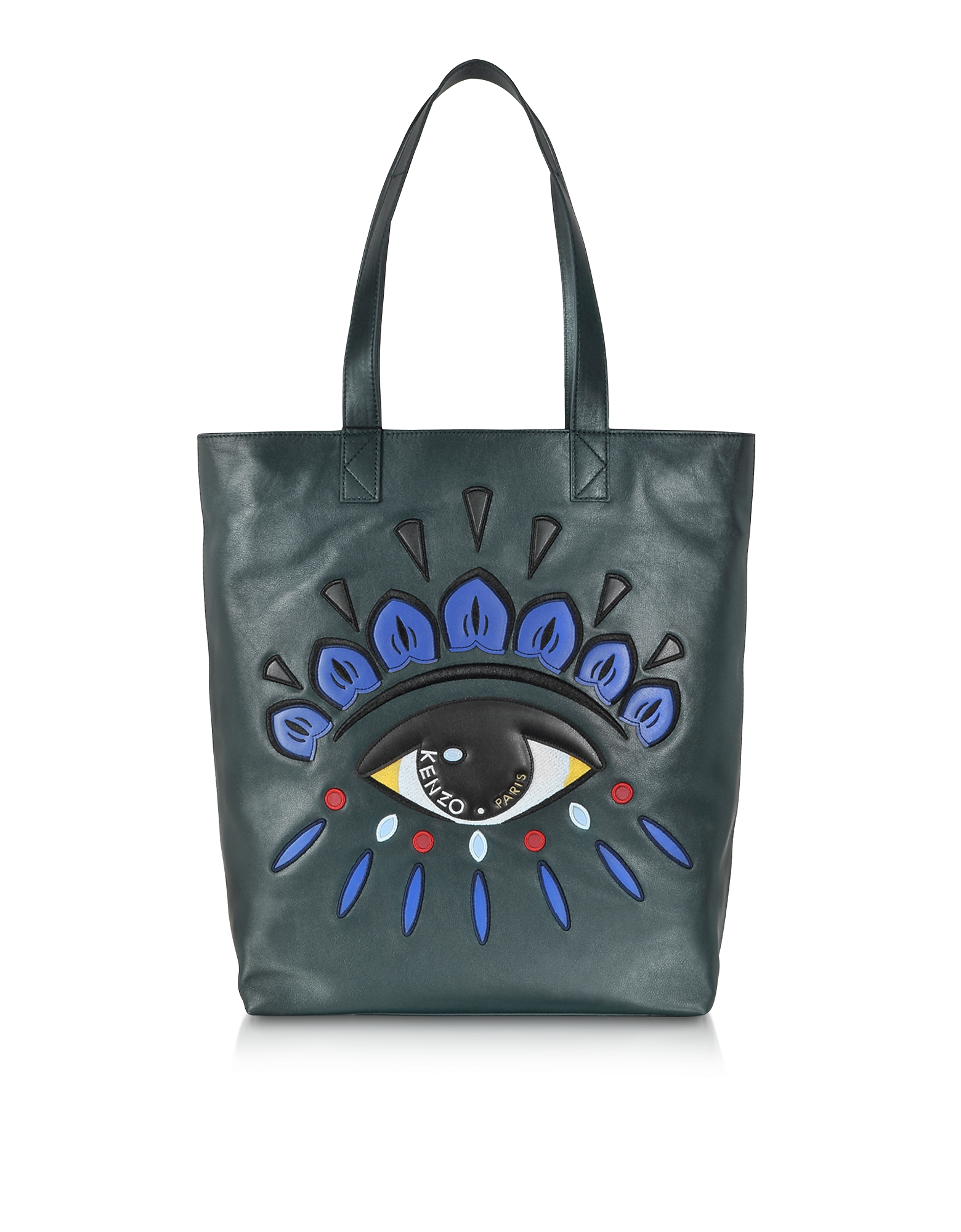 Kenzo Handbags, Dark Green Leather Eye Tote Bag
