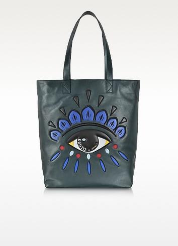 Dark Green Leather Eye Tote Bag - Kenzo