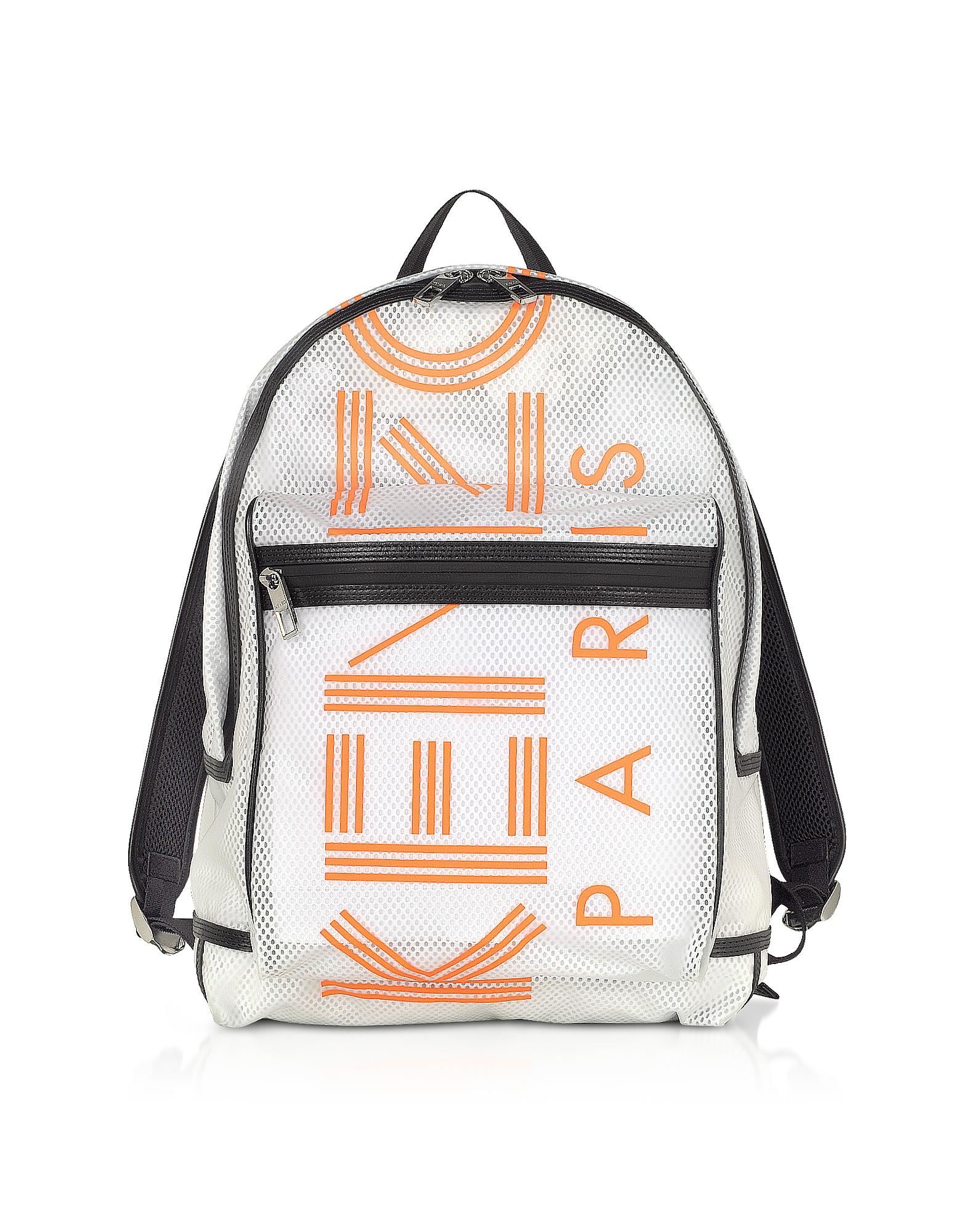 Kenzo Designer Men's Bags, White PVC & Mesh Sport Logo Backpack