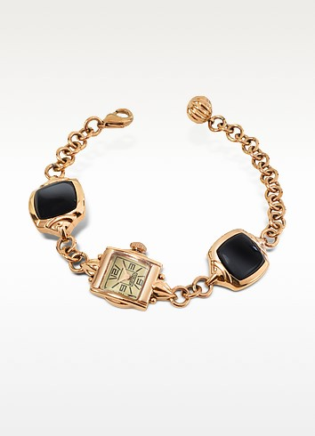 Kichou - Rose Gold Plated Bracelet Watch with Onyx  - Kenzo
