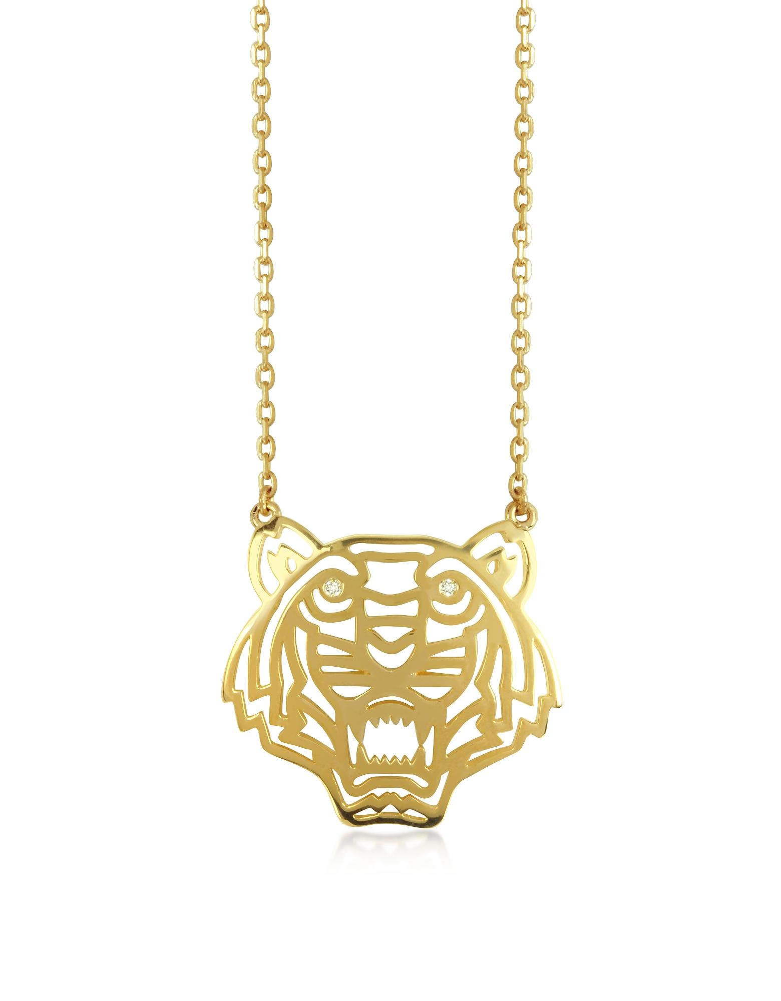 Kenzo Позолоченное Ожерелье с Подвеской-Тигром