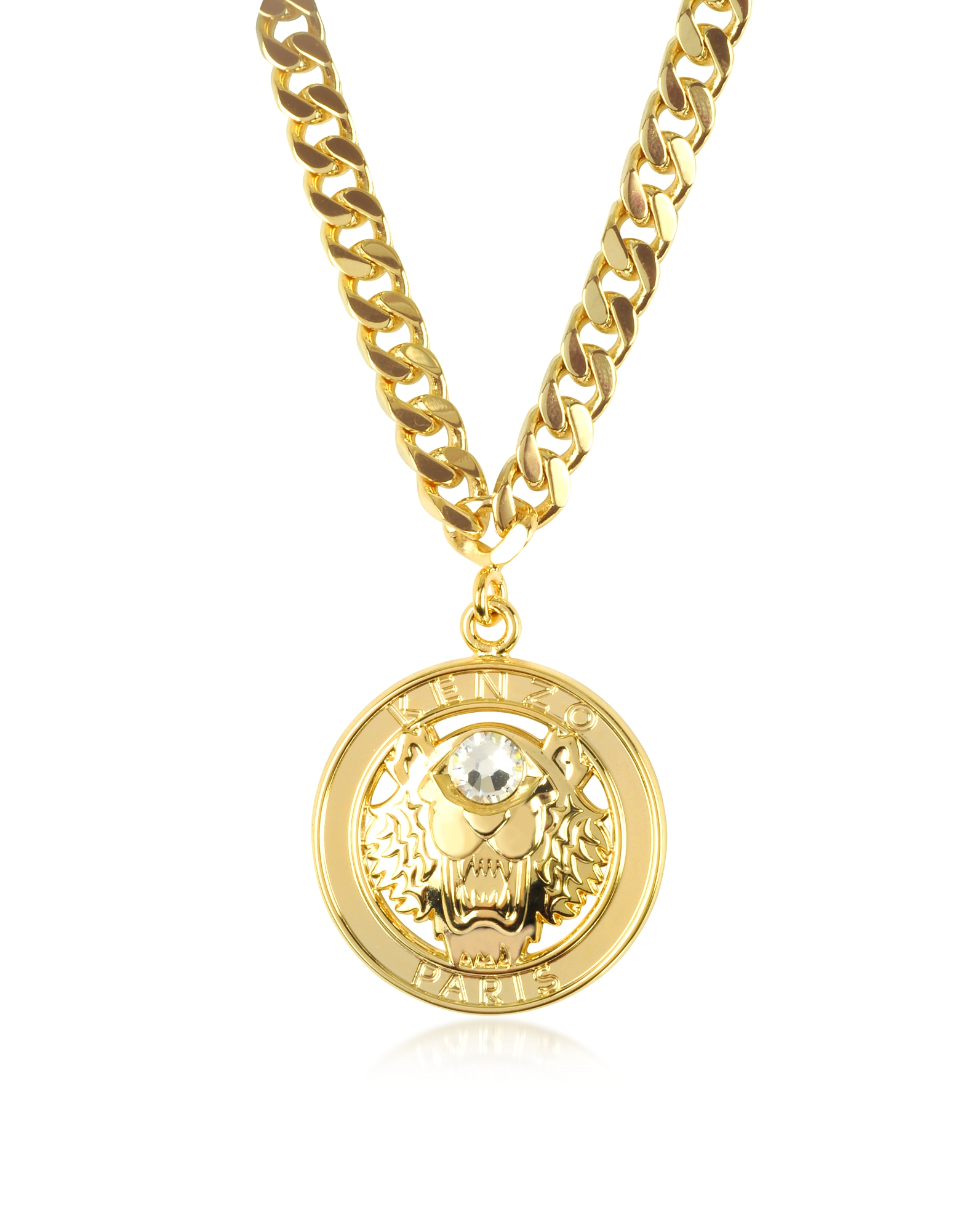 Kenzo Necklaces, Gilt Tiger Cyclop Necklace