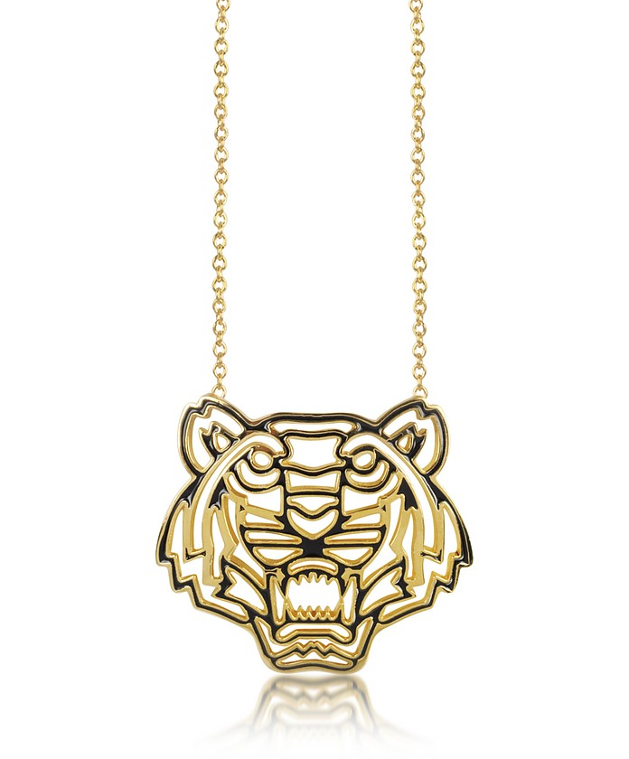 Gold Plated and Black Lacquer Tiger Head Necklace - Kenzo