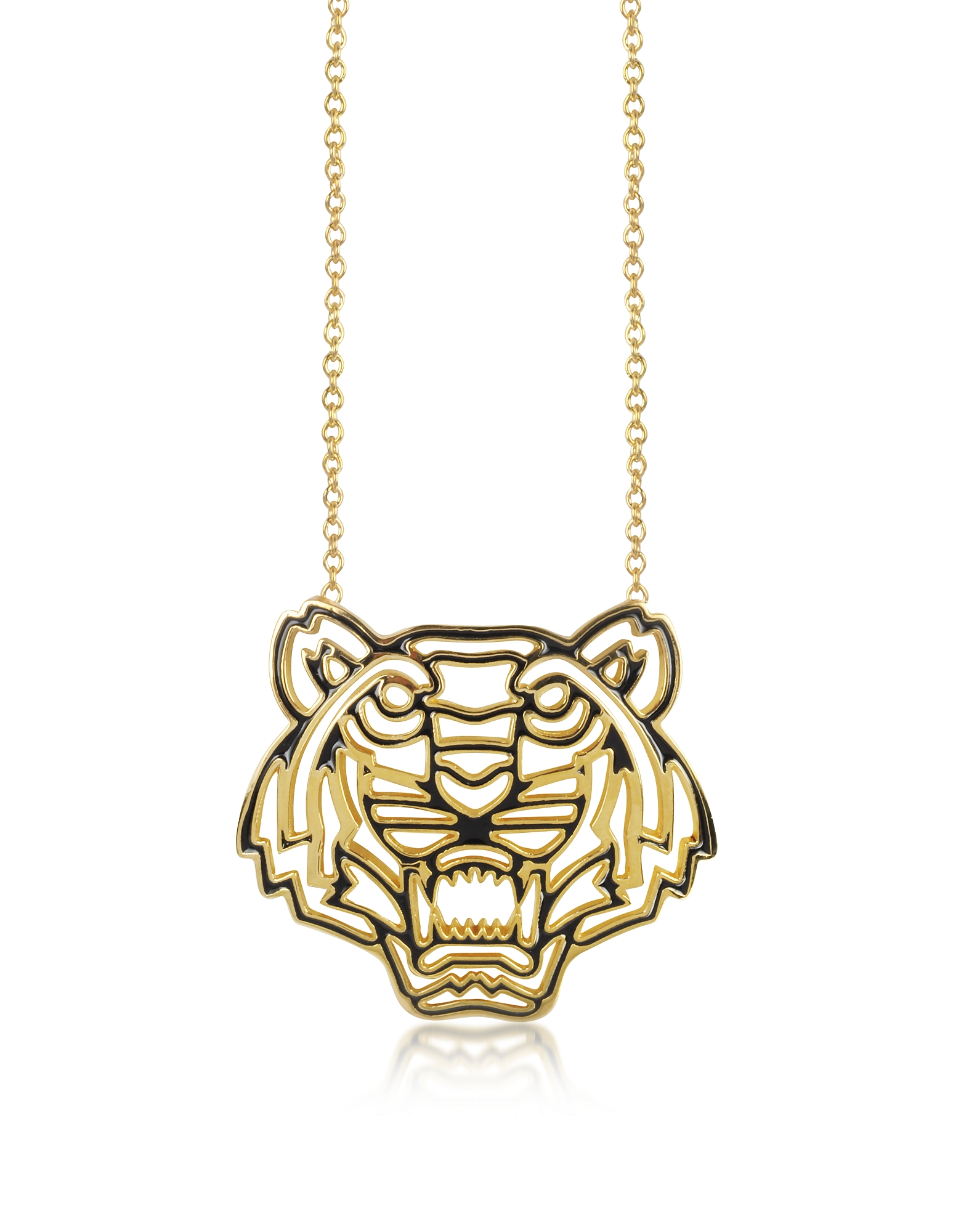 Kenzo Necklaces, Gold Plated and Black Lacquer Tiger Head Necklace