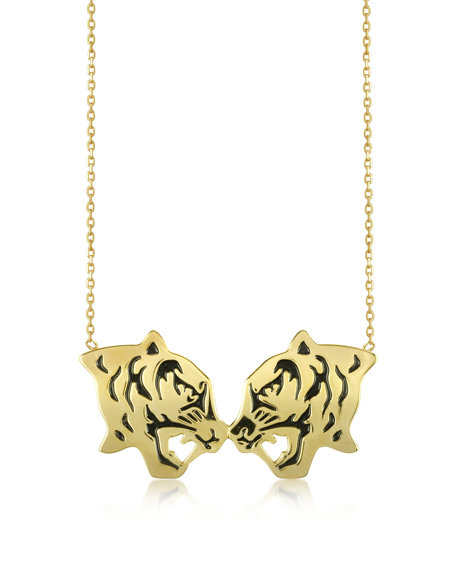 Kenzo Necklaces, Gold Plated and Black Lacquer Fighting Tiger Necklace