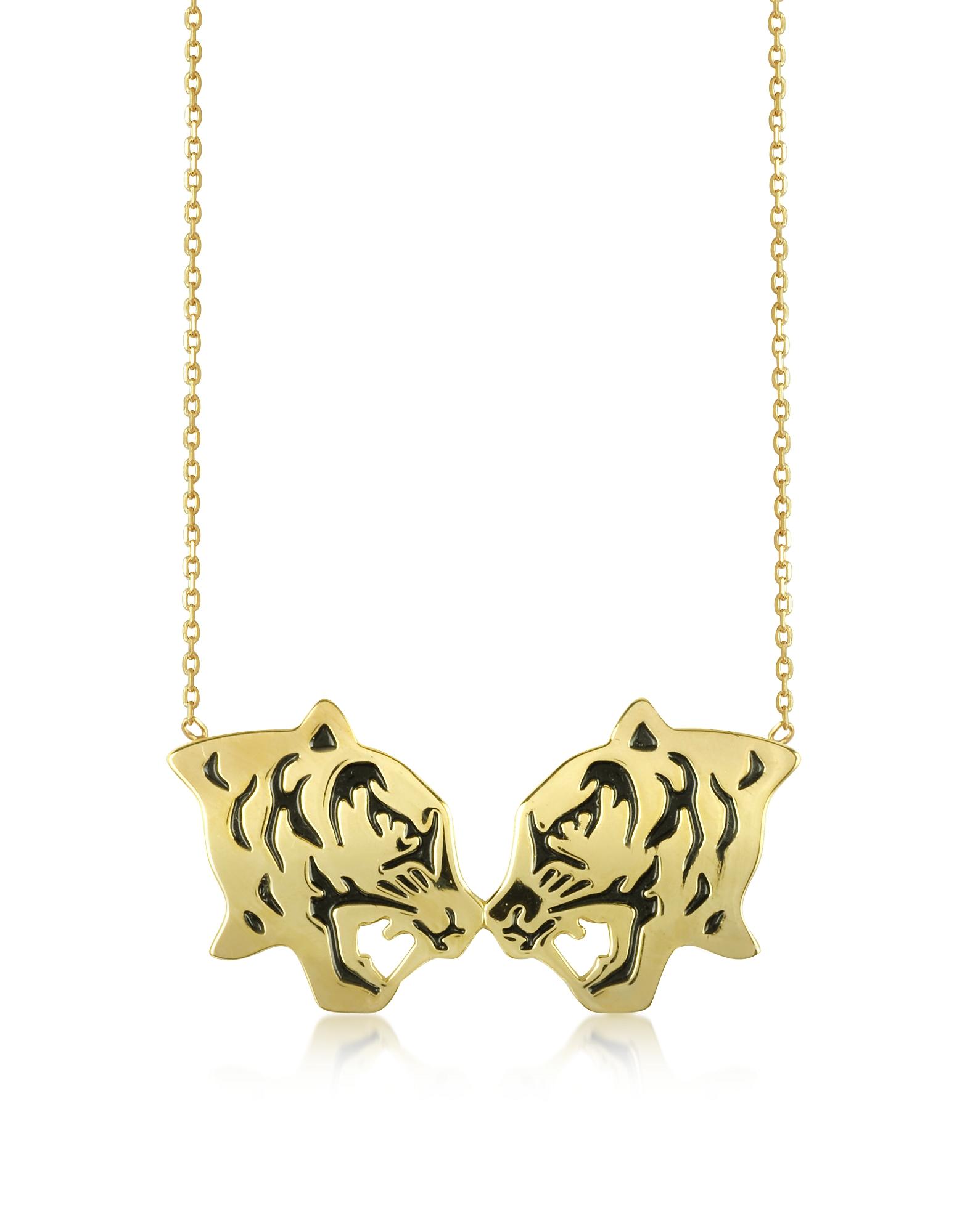 Позолоченное Ожерелье с Черными Тиграми