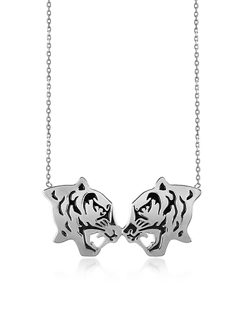 Kenzo - Rhodium Silver and Black Lacquer Fighting Tiger Necklace