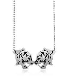 Rhodium Silver and Black Lacquer Fighting Tiger Necklace - Kenzo