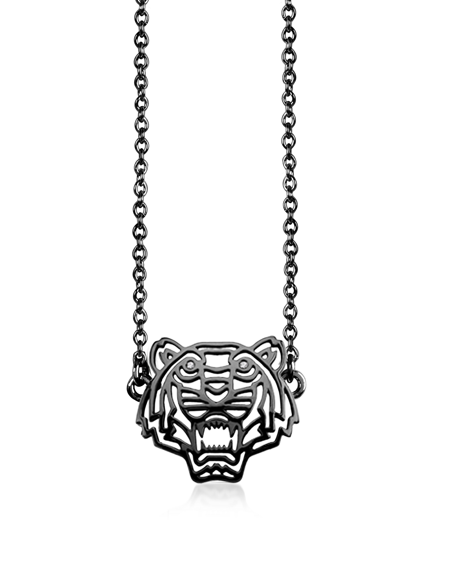 Kenzo Necklaces, Ruthenium Plated Sterling Silver Cut Out Tiger Necklace w/Crystal