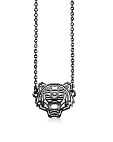 Ruthenium Plated Sterling Silver Cut Out Tiger Necklace w/Crystal  - Kenzo